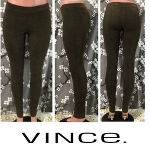 NWOT VINCE Stretch Lamb Suede Leather Leggings
